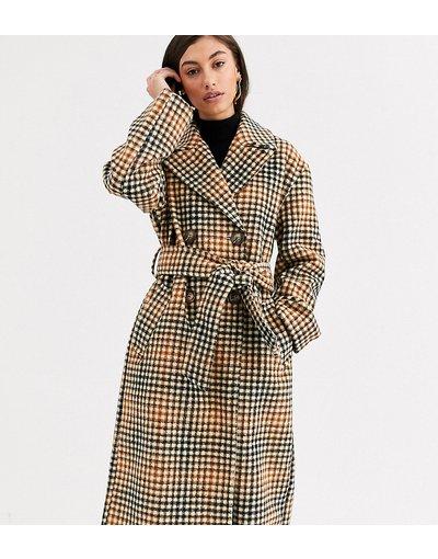 Multicolore donna Cappotto a quadri con cintura - ASOS DESIGN Tall - Multicolore