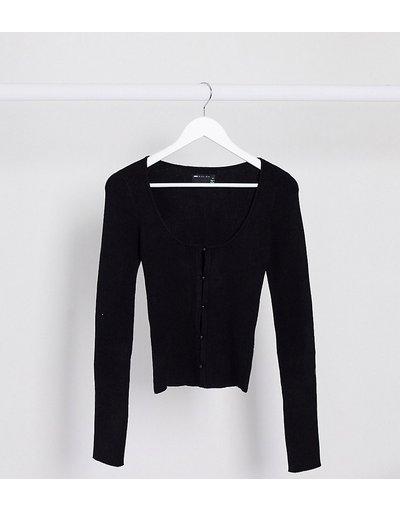 Maglione cardigan Nero donna Cardigan in maglia a coste con bottoni - ASOS DESIGN Tall - Nero