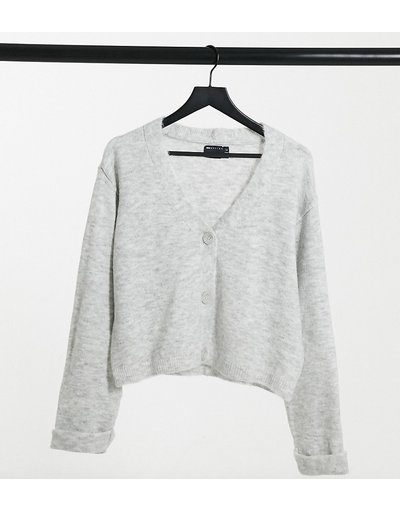 Maglione cardigan Grigio donna Cardigan squadrato grigio con polsini risvoltati - ASOS DESIGN Tall