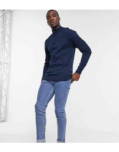 Jeans Blu uomo Jeans skinny lavaggio blu medio piatto - ASOS DESIGN Tall