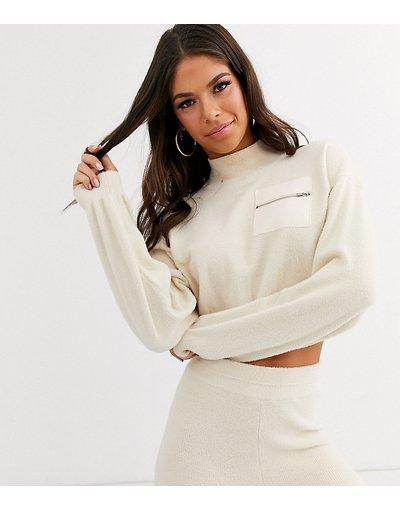 Crema donna Maglione soffice con tasca a contrasto in coordinato - ASOS DESIGN Tall Lounge - Crema