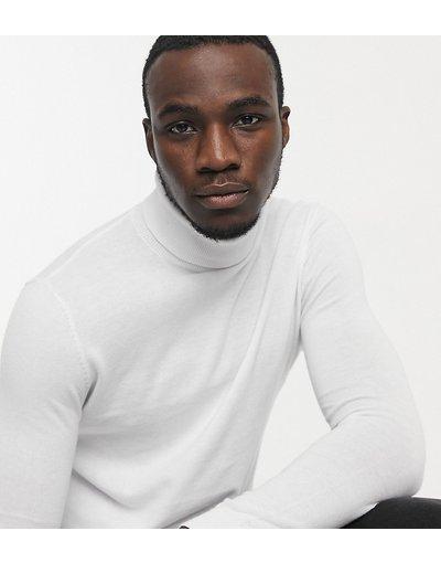 Bianco uomo Maglione accollato in cotone bianco - ASOS DESIGN Tall