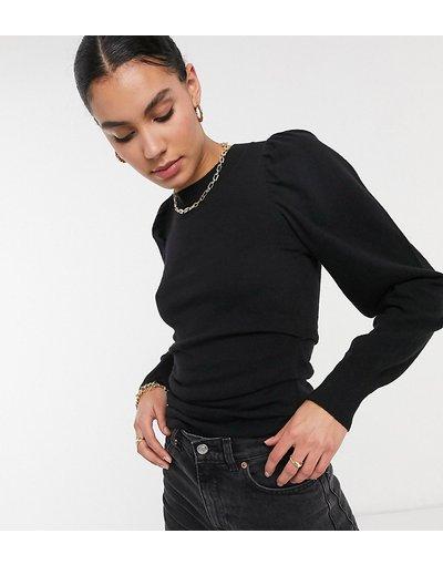 Nero donna Maglione con maniche voluminose e ruches in vita colore nero - ASOS DESIGN Tall