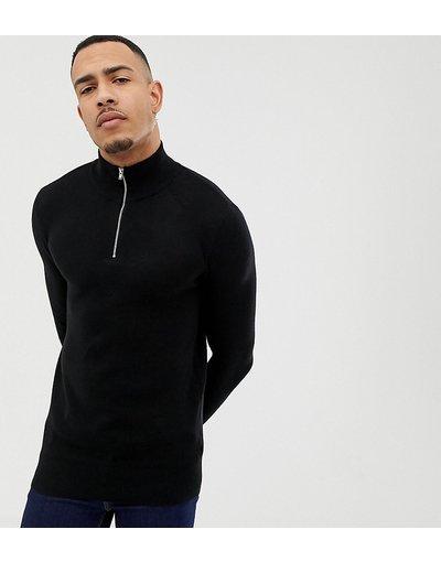 Nero uomo Maglione nero di media pesantezza con zip corta - ASOS DESIGN Tall