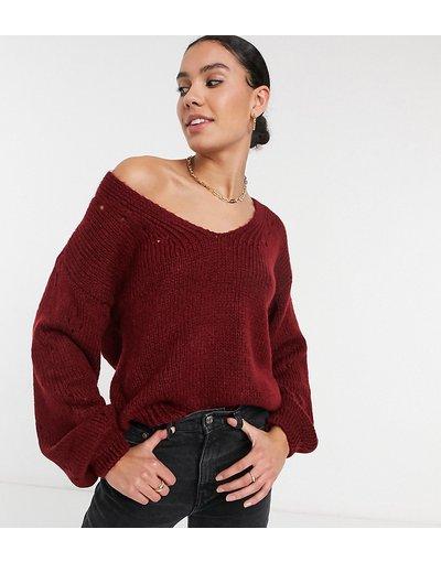 Rosso donna Maglione rosso con impunture sulle maniche e scollo a V - ASOS DESIGN Tall