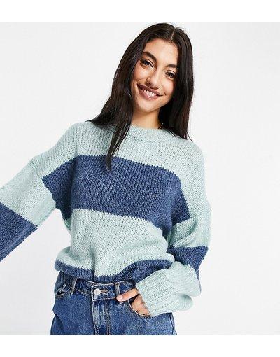 Blu donna Maglione soffice oversize con righe colorblock - ASOS DESIGN Tall - Blu