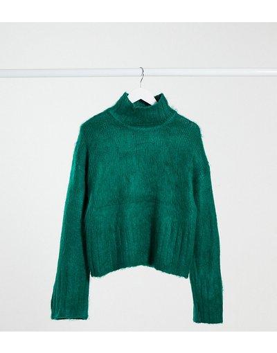 Blu donna Maglione squadrato soffice verde con collo alto - ASOS DESIGN Tall - Blu