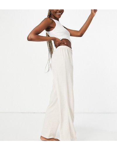 Pigiami Bianco donna Pantaloni del pigiama dritti in jersey crema - ASOS DESIGN Tall - Mix&Match - Bianco
