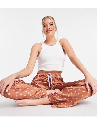 Pigiami Marrone donna Pantaloni del pigiama in raso a pois marrone e lilla - ASOS DESIGN Tall - Mix&Match