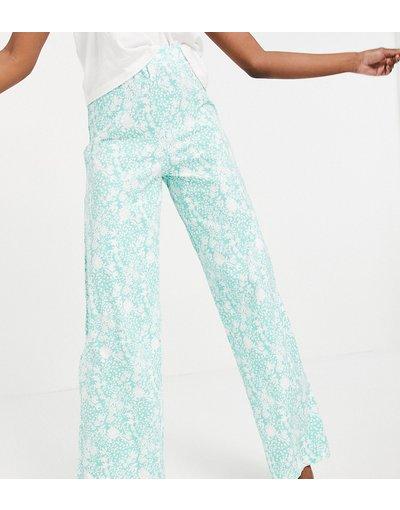 Pigiami Verde donna Pantaloni del pigiama verdi a fiori - ASOS DESIGN Tall - Mix&Match - Verde