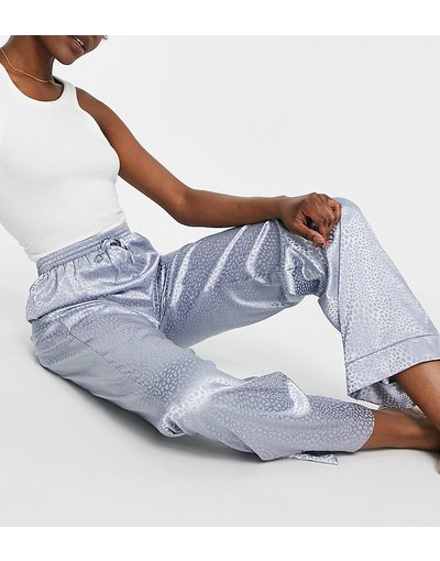 Pigiami Blu donna Pantaloni in raso jacquard blu con stampa animalier - ASOS DESIGN Tall - Mix&Match