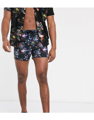 Costume Multicolore uomo Pantaloncini da bagno corti scuri con stampa a fiori fotografica - ASOS DESIGN Tall - Multicolore