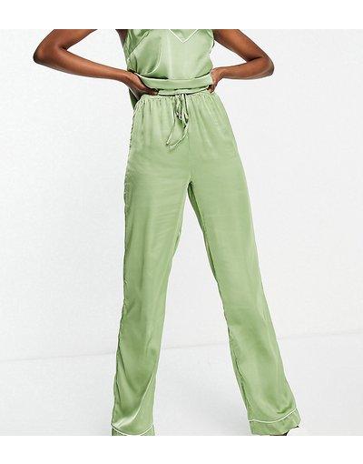 Pigiami Verde donna Pantaloni del pigiama mix&match in raso verde salvia - ASOS DESIGN Tall