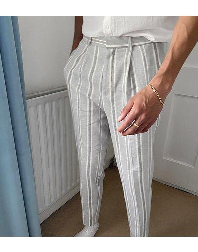 Grigio uomo Pantaloni eleganti affusolati in lino grigio rigato - ASOS DESIGN Tall