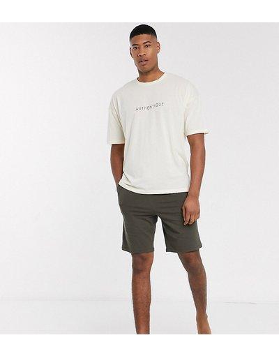 Pigiami Multicolore uomo shirt oversize e pantaloncini grigio pietra con scrittaauthentique- ASOS DESIGN Tall - Pigiama con T - Multicolore