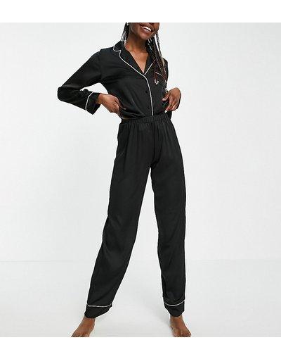 Pigiami Nero donna Pigiama in raso nero con camicia a maniche lunghe e pantaloni - ASOS DESIGN Tall