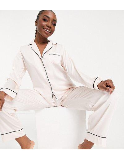 Pigiami Bianco donna Pigiama in raso rosa con camicia a maniche lunghe e pantaloni - ASOS DESIGN Tall - Bianco