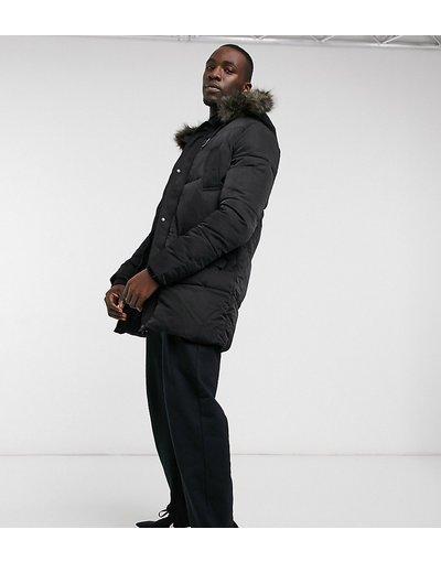 Nero uomo Piumino con cappuccio con bordo in pelliccia sintetica nero - ASOS DESIGN Tall