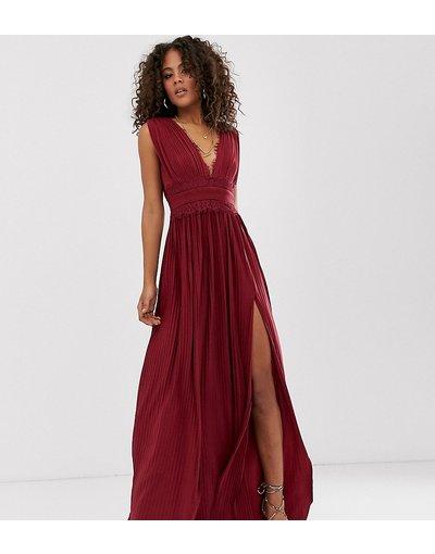 Rosso donna Vestito lungo plissettato con inserti in pizzo - ASOS DESIGN Tall - Premium - Rosso