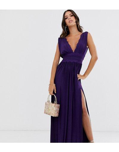 Viola donna Vestito lungo plissettato con inserti in pizzo - ASOS DESIGN Tall - Premium - Viola
