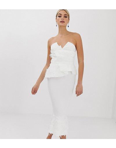 Bianco donna Vestito peplo midi con piume sintetiche - ASOS DESIGN Tall PREMIUM - Bianco