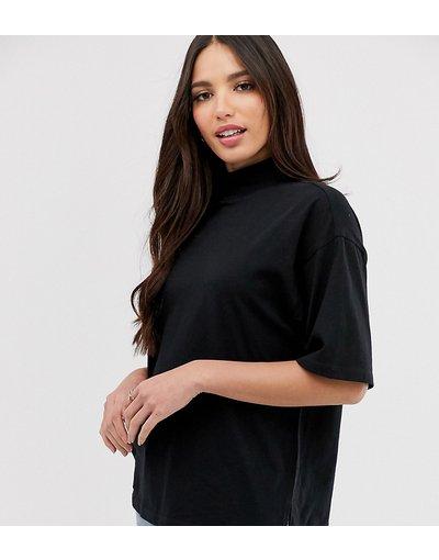 T-shirt Nero donna shirt accollata nera - ASOS DESIGN Tall - Nero - T