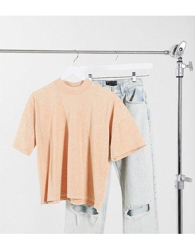 T-shirt Crema donna shirt squadrata con collo a coste paglia slavato - ASOS DESIGN Tall - Crema - T