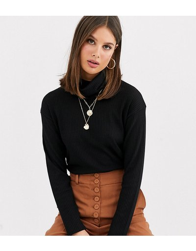 T-shirt Nero donna Top con collo alto a coste nero - ASOS DESIGN Tall