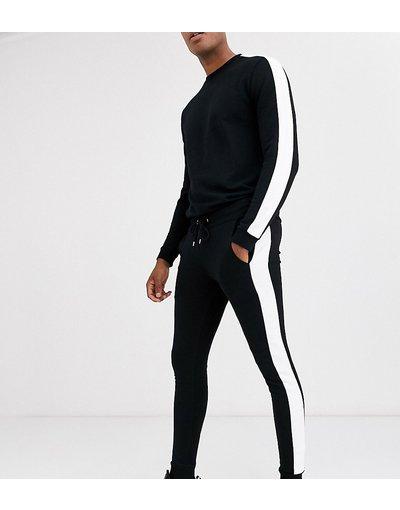 Novita Nero uomo Tuta sportiva nera con righe laterali - ASOS DESIGN Tall - Nero