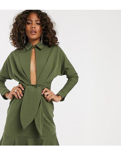 Verde donna Vestitino camicia con vita scesa - ASOS DESIGN Tall - Verde