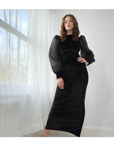 Nero donna Vestito al polpaccio in velluto nero con apertura sulla schiena e maniche in organza - ASOS DESIGN Tall