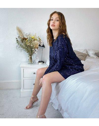 Blu navy donna Vestito corto a maniche lunghe con scollo a V sulla schiena e paillettes, colore blu navy - ASOS DESIGN Tall