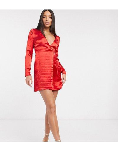 Rosso donna Vestito corto a portafoglio in raso lucido - ASOS DESIGN Tall - Rosso