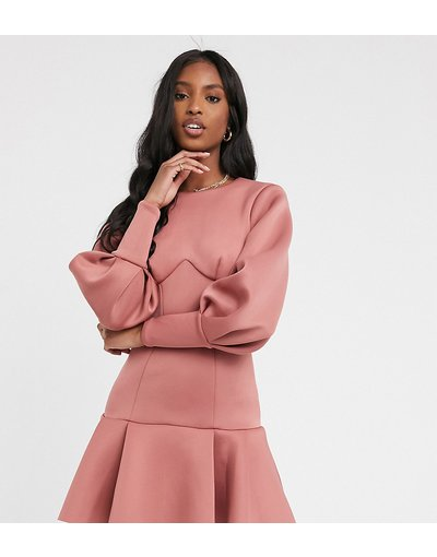 Rosa donna Vestito corto con fondo a peplo e cuciture a maniche lunghe aperta dietro rosa - ASOS DESIGN Tall