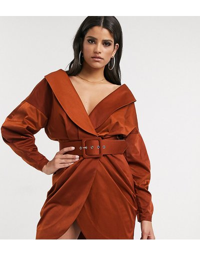 Arancione donna Vestito corto stile smoking arricciato con spalle scoperte e cintura ruggine - ASOS DESIGN Tall - Arancione