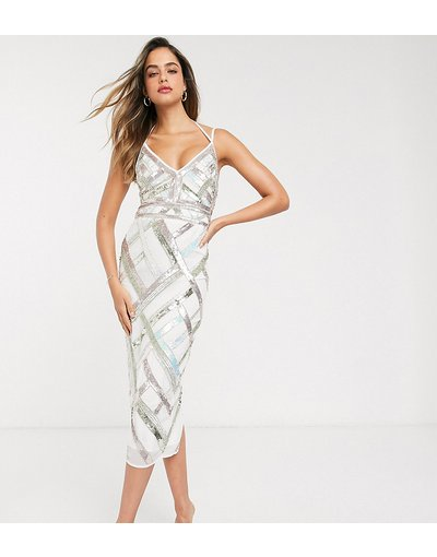 Eleganti longuette Multicolore donna out e decorazione a reticolo - Vestito longuette con cut - ASOS DESIGN Tall - Multicolore