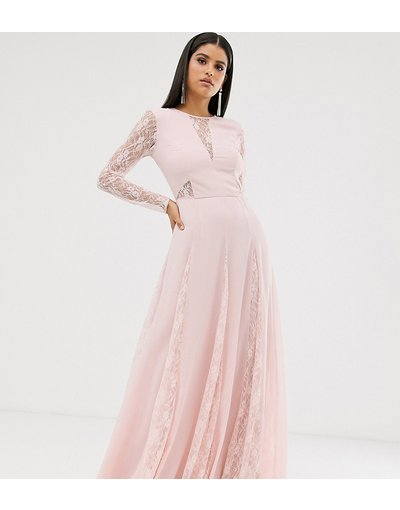 Rosa donna Vestito lungo a maniche lunghe con corpino a pannelli in pizzo - ASOS DESIGN Tall - Rosa