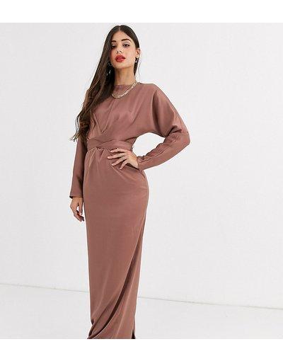 Rosa donna Vestito lungo a portafoglio in raso con maniche a pipistrello - ASOS DESIGN Tall - Rosa