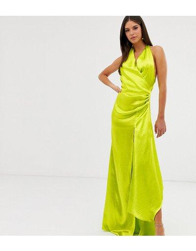 Verde donna Vestito lungo allacciato al collo in raso extra lucido con scollo drappeggiato - ASOS DESIGN Tall - Verde