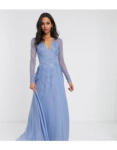 Eleganti lunghi Grigio donna Vestito lungo con dettaglio in rete a pieghe con ricami - ASOS DESIGN Tall - Grigio
