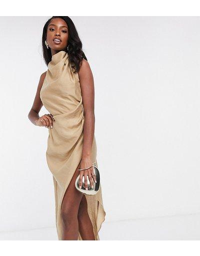 Beige donna Vestito lungo con scollo ad anello aperto dietro in crêpe testurizzato - ASOS DESIGN Tall - Beige