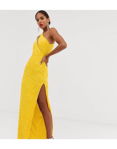 Giallo donna Vestito lungo decorato con apertura sul corpetto - ASOS DESIGN Tall - Giallo
