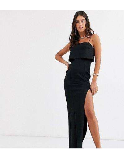Nero donna Vestito lungo in tessuto scuba con top corto - ASOS DESIGN Tall - Nero