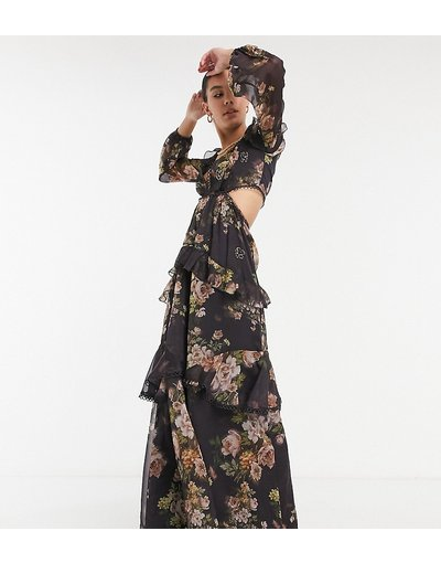 Multicolore donna Vestito lungo marrone a maniche lunghe decorato con finiture a cerchi e stampa a fiori - ASOS DESIGN Tall - Multicolore