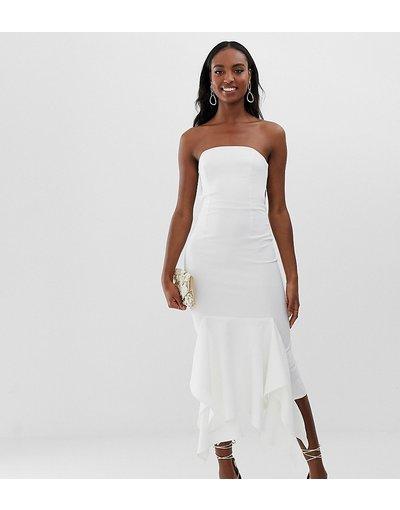 Crema donna Vestito midi a fascia in crêpe con fondo peplo - ASOS DESIGN Tall - Crema