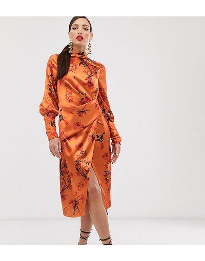 Multicolore donna Vestito midi a maniche lunghe in raso con drappeggio e stampa a fiori - ASOS DESIGN Tall - Multicolore
