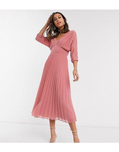 Rosa donna Vestito midi a pieghe rosa tea con maniche a pipistrello - ASOS DESIGN Tall
