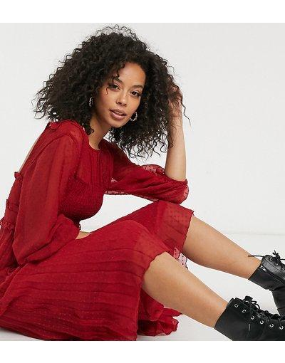 Rosso donna Vestito midi arricciato a pieghe in plumetis rosso - ASOS DESIGN Tall