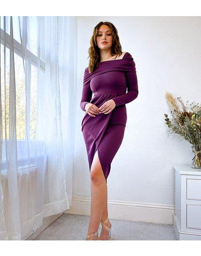 Viola donna Vestito midi con spalle scoperte color melanzana - ASOS DESIGN Tall - Viola