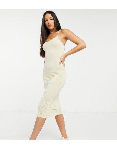Pietra donna Vestito midi fasciante minimal asimmetrico con spalline sottili color pietra - ASOS DESIGN Tall